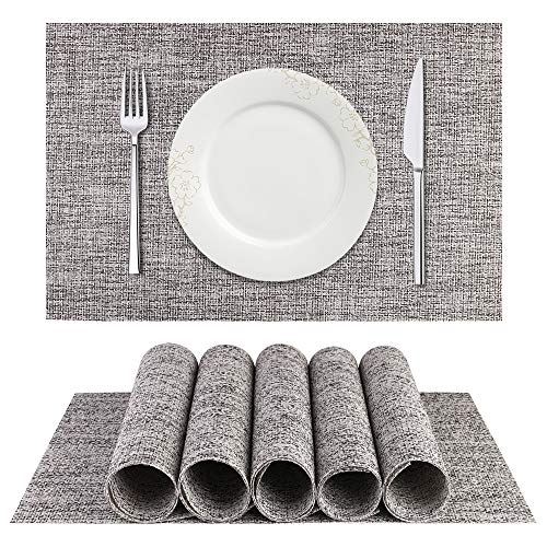 BETEAM Placemats, Heat-Resistant Placemats Stain Resistant Anti-Skid Washable PVC Table Mats Woven Vinyl Placemats, Set of 6(Smoky -