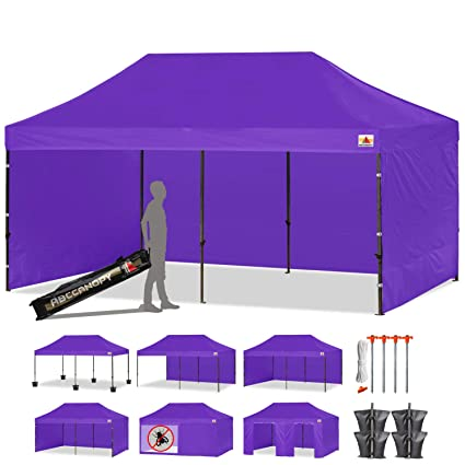 ABCCANOPY 23+Colors 10 X 20 Commercial Easy Pop up Canopy Tent Instant  Gazebos with 9 Removable Sides and Roller Bag and 6X Weight Bag (PURPLE1)