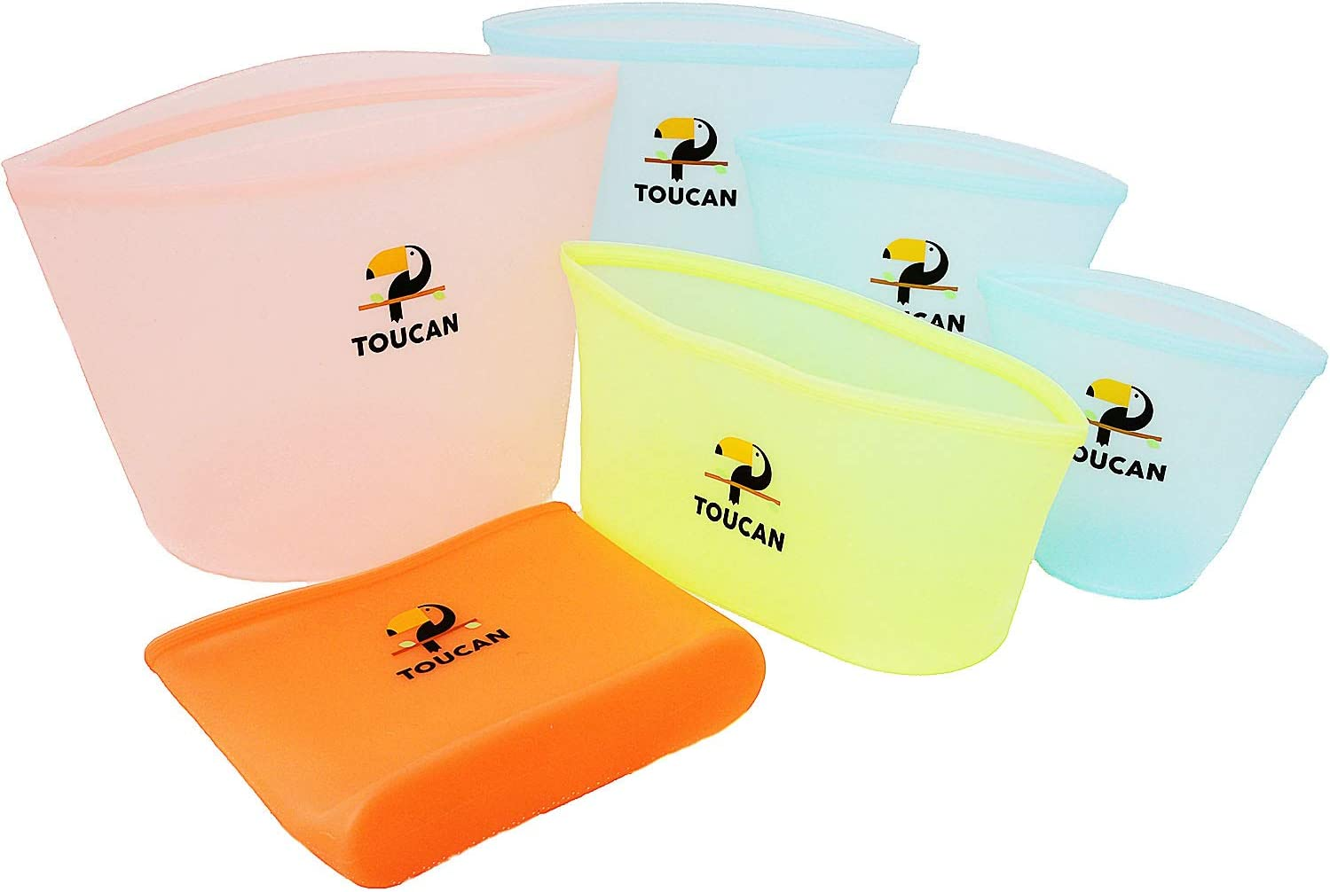 Toucan Silicone Storage Bags – 6 pcs Leakproof Reusable Storage Bag set with Cups, Dish, Sandwich Bag and Cooking Bag – Non-BPA and Non-Toxic Snack Bags – Dishwasher Safe Silicone Containers