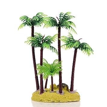 Efanr Pequeño simulación de plástico para la playa, árbol de coco, acuario, paisaje