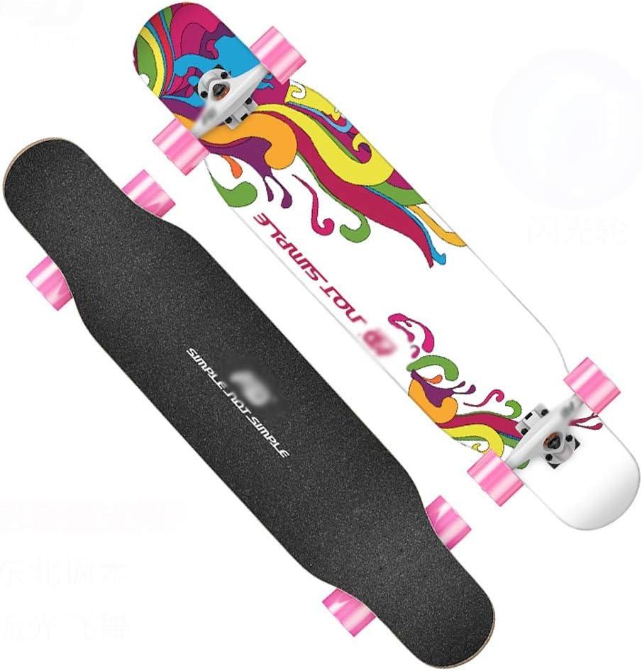 KTYXDE スクーター初心者女の子四輪スクーター青少年ブラシストリートダブルダンスボード付きフラッシュホイール (Color : D) D