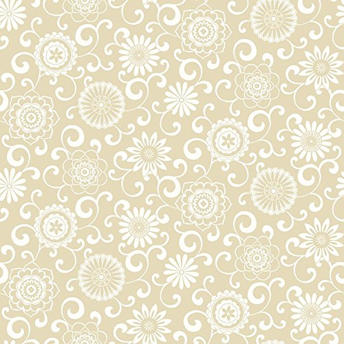 Ecru Print (York Wallcoverings WP2432SMP Waverly Small Prints Pom Pom Play Wallpaper Memo Sample, 8-Inch x 10-Inch, Ecru, White)