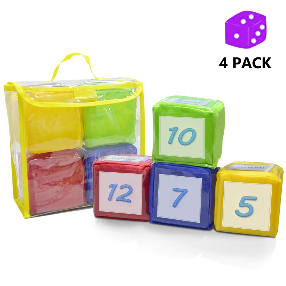 Eamay Playing Game Dice Soft Foam Cubes, Set of 4 Learn Pocket Cubes, Ages 5 Months and Up by Eamay