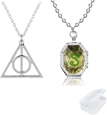 Harry Potter Hogwarts Necklace Ring Set Deathly Hallows Slytherin Pendant In Box