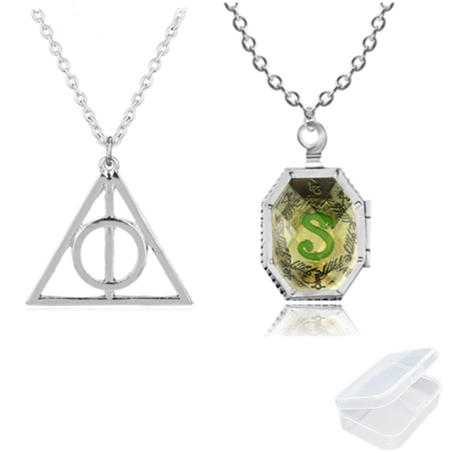 PPX 2 Pieces of Harry Potter Locket Horcrux Necklace and Deathly Hallows Symbol Pendant Necklace Jewellery Set with Transparent Box