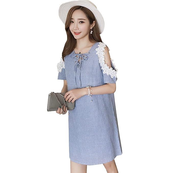BOZEVON Vestido Lactancia de Mujer Embarazo - Moda Elegante Encaje Premamá Blusa Maternidad Verano Camiseta Vestidos: Amazon.es: Ropa y accesorios
