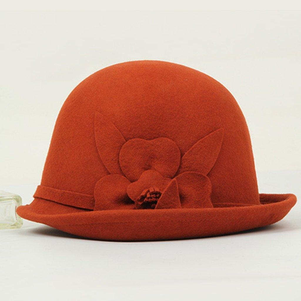 Otoño E Invierno De De Invierno Color Solido Nudo De La Flor Del Sombrero Hembra ( Color : Naranja ) ffef7c
