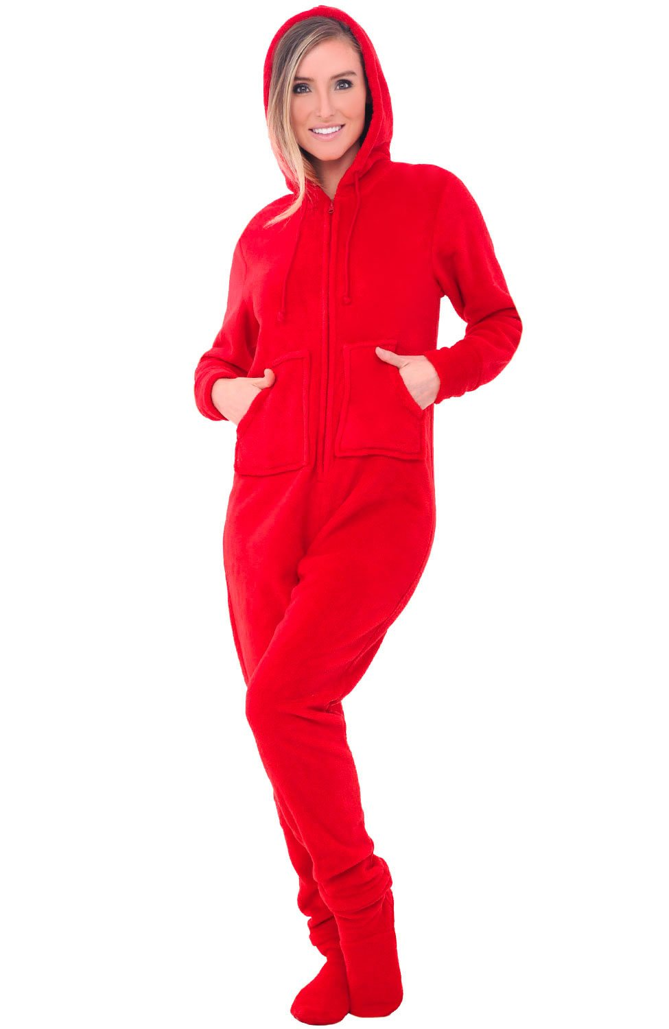 Alexander Del Rossa Womens Fleece Onesie, Hooded Footed Jumpsuit Pajamas, Small Red (A0322REDSM)