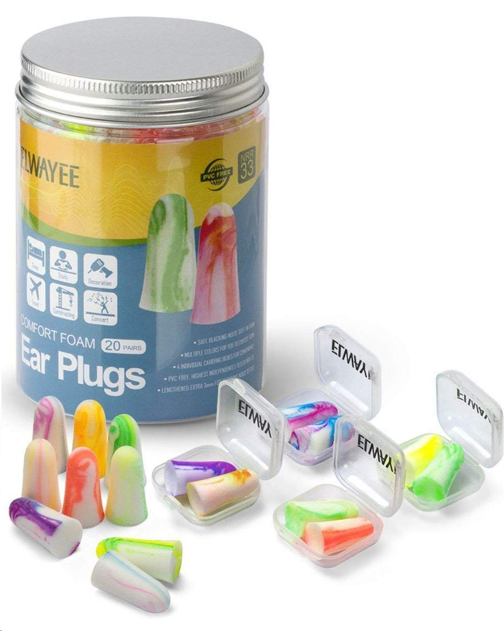 Sleep Noise Cancelling Ear Plugs - Soft in Foam Hearing Protection Earplugs & 4 Mini Carrying Cases Set: Reusable Noise Reduction Ear Plugs for Sleeping, Travelling, Snoring - 20 Pairs by ELWAYEE