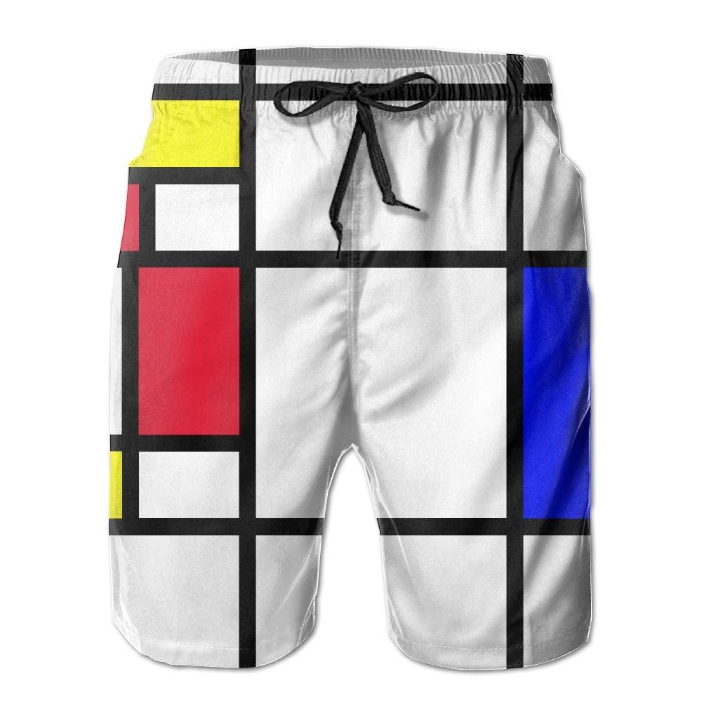 J,CORNER Mens Mondrian Summer Holiday Swim Trunks Beach Shorts Board Shorts X-Large