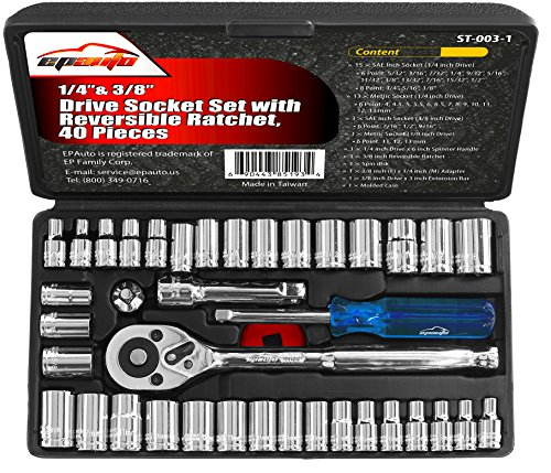40 Pieces - EPAuto 1/4-Inch & 3/8-Inch Drive Socket Set with Reversible (0.25 Drive Socket Set)