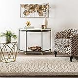 Mohawk Home Loft Christiana Cream Diamond Pattern Woven Soft Shag Area Rug, 5'x8′, Beige and Grey