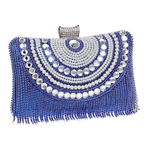 à Bleu Main Gland Mode Sacs Mariage Embrayages Sacs de Pochette diamant Femmes Perlée Luckywe Soirée UqF6wW7