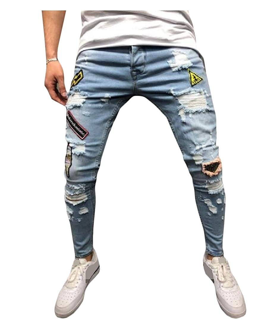 Big Tang Mens Vogue Printed Stretch Jeans Denim Hole Trousers Pants