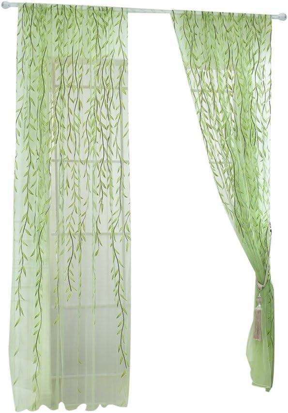 WINOMO Visillos para Ventanas Cortina Voile con Bordado Hoja Verde 100x200cm