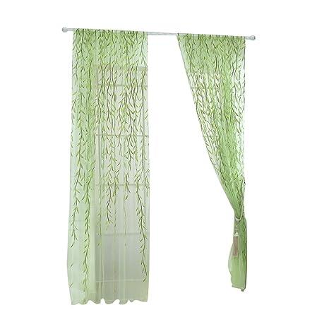 WINOMO Transparente Voile Vorhänge Gardine Schal Dekoschal für Schlafzimmer Wohnzimmer 100x200cm (Grün)