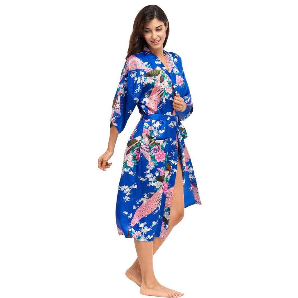 Psunrise Pijamas New Women Solf Comfy Simulation Silk Print Bandage Gown Bath Robe Lingerie Sleepwear Plus Size