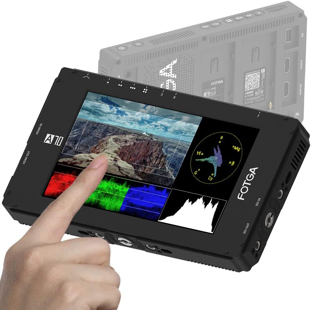 3G SDI 4K HDMI Input//Output,1920x1080,Dual NP-F NP-F970 F770 Battery Plate for DSLR Mirrorless Cinema Camera Fotga DP500IIIS A70TLS 7 Inch Touch Screen FHD IPS Video On-Camera Field Monitor,3D LUT
