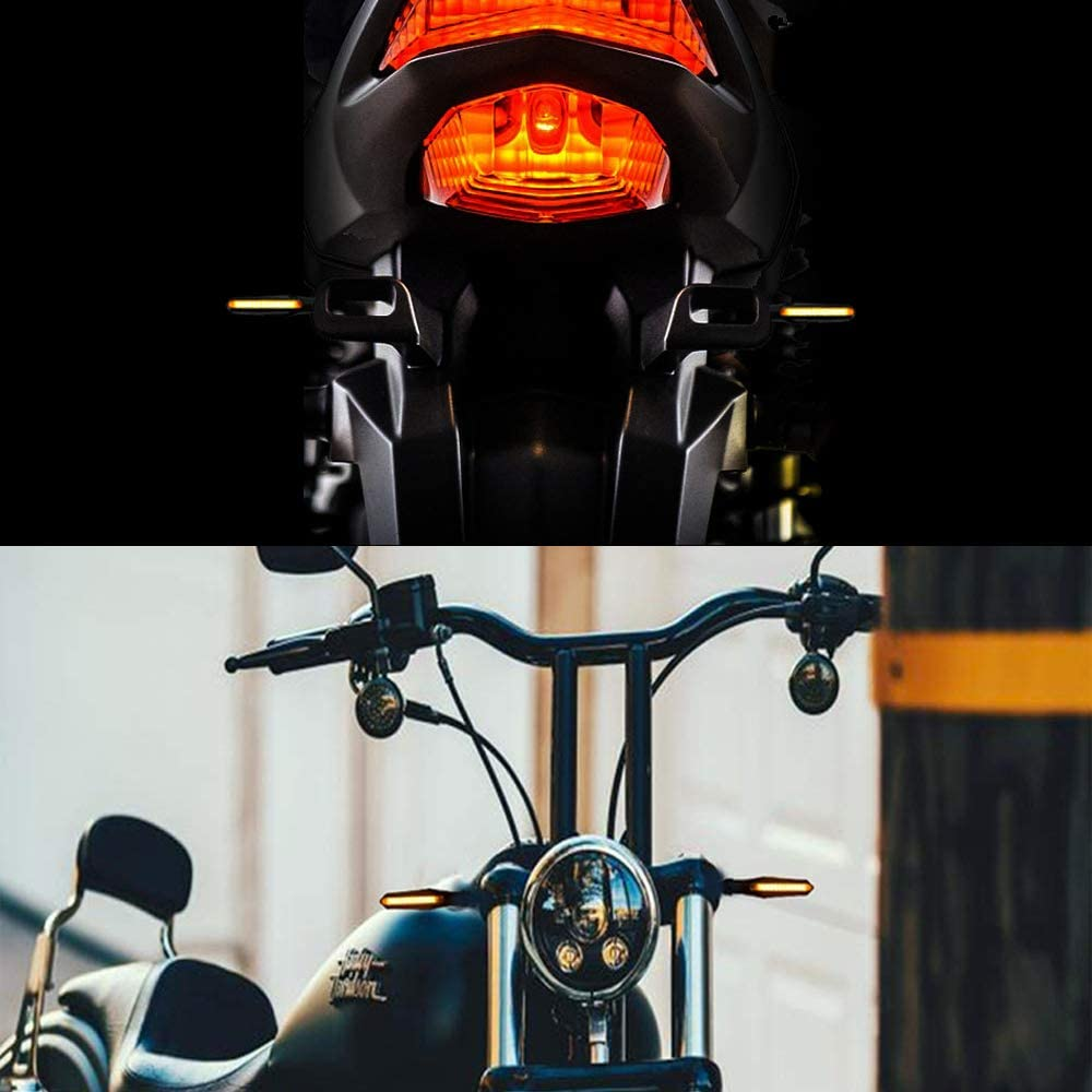 Evermotor Universal E-MARK E-Approved Motorcycle Look and Beautiful Bright LED Running Light Sequential Running Effect Indicator Waterproof Pack of 2 Quad Scooter Chopper Cruiser ATV Moped