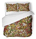 Emvency 3 Piece Duvet Cover Set Breathable Brushed Microfiber Fabric Gambling Cartoon Doodles on The Subject of Casino Colorful Detailed with Lots Bedding Set with 2 Pillow Covers Full/Queen Size