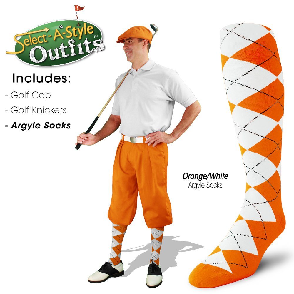 Golf Knickers Mens Select-A-Style Outfit - Orange - Waist 32 - Sock - NY/OR by Golf Knickers (Image #4)