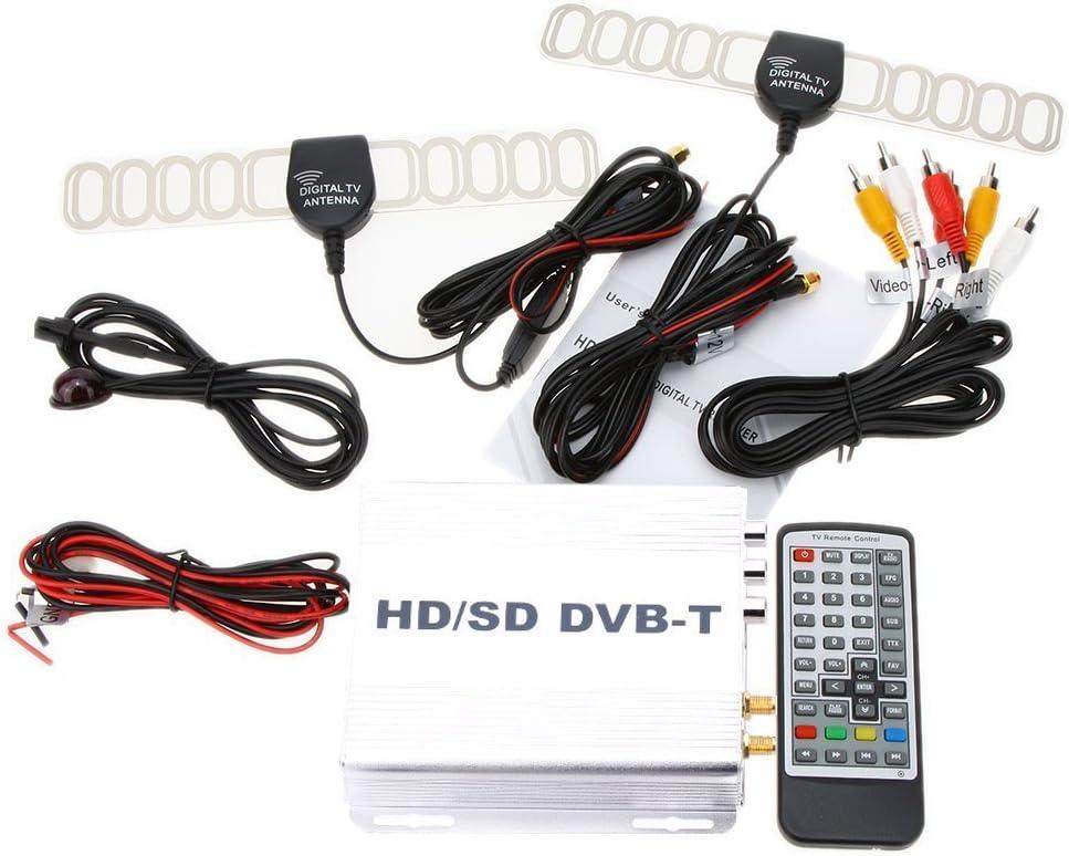 TOOGOO DVB-T HD SD Multi-Canal Movil Coche Digital TV Caja Mini TV Sintonizador Analogico Alta Velocidad 240 km/h Receptor de Senal Fuerte para ...