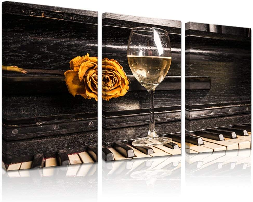 LevvArts - 3 Piece Canvas Wall Art Vintage Rose and Wine on The Piano Pictures for Wall Music Artwork Wall Decor for Living Room Gallery Wrap Ready to Hang,16x32inchx3pcs