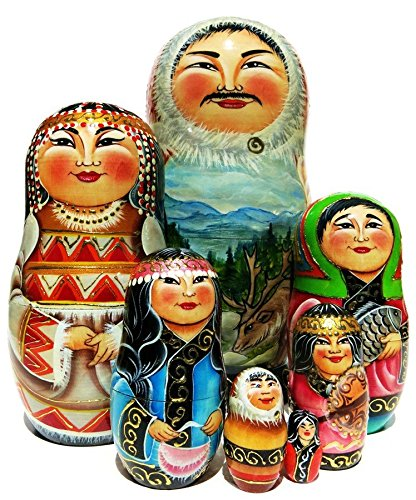Inuit Family 7 Piece Russian Nesting Doll