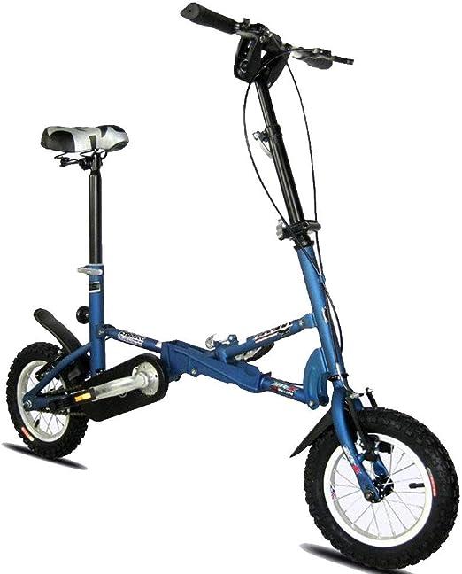 DPGPLP Bicicleta Plegable Coche Plegable 12 Pulgadas V Freno Velocidad Bicicleta Hombres Y Mujeres Niños Bicicleta Mini Bicicleta Plegable Metro Bus Bicicleta Portátil,Azul: Amazon.es: Hogar