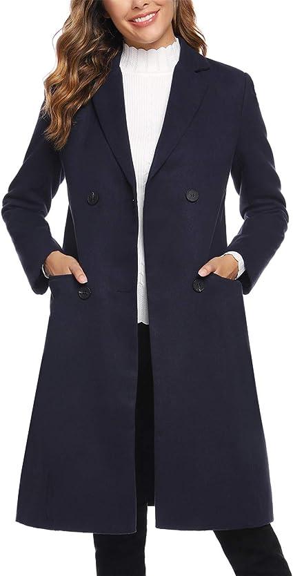 Womens Slim Fit Double-breasted Dust Coat Lapel Long Wool Blend Jacket Overcoat