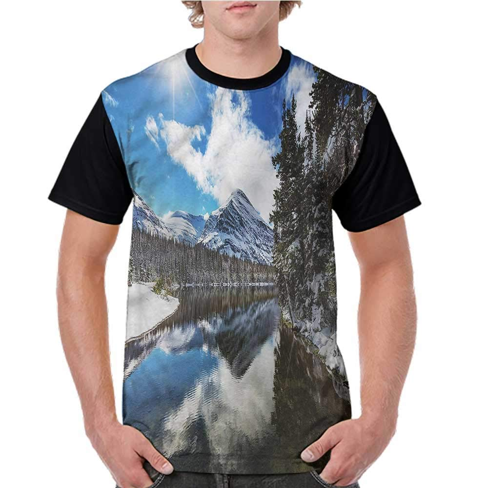 Short Sleeve Blouse,Winter,Tranquil National Park S-XXL Men O Neck Casual T Shirt