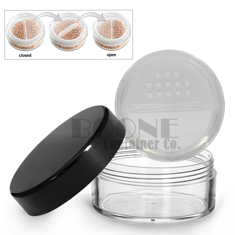 2fd4e0e028e5 2-Pack 10ml / 10g Clear Powder Sifter Empty Refillable Cosmetic Makeup Jar  w/Twist Rotating...