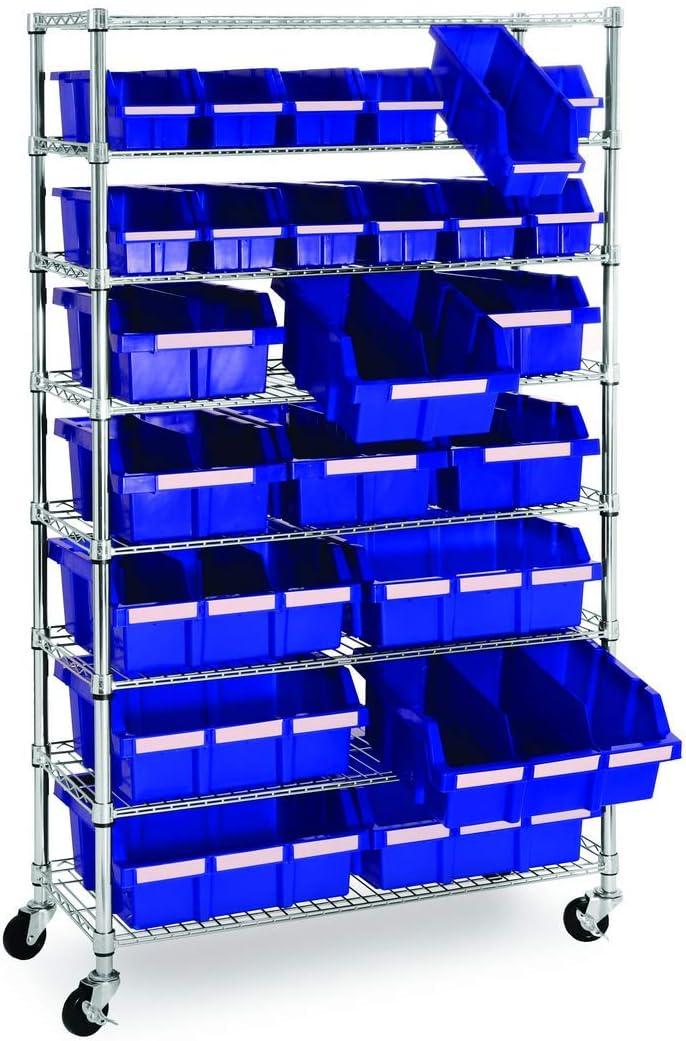 Stahl Seville Classics Schwerlastregal mit 5 B/öden und Lenkrollen Standregal 61 x 45,7 x 182,8 cm Silber LxBxH