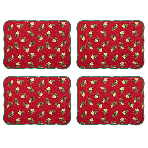 istmas Holiday Embroidered Table Runner Cardinal Holly Berry Quilted Joy Snowman Poinsettia Placemats (Set of 4 Holly Berry Quilted Placemats) (Cardinals Runner Mat)