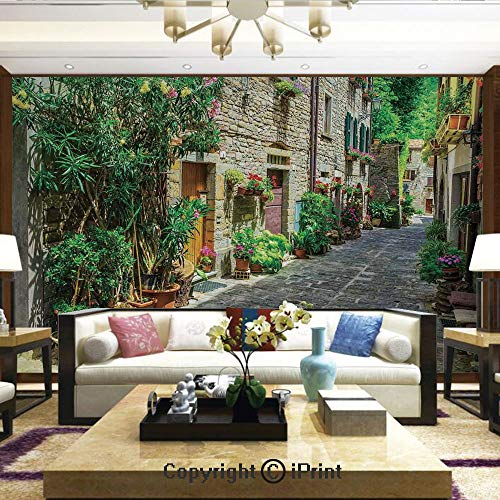 Lionpapa_mural Removable Wall Mural Ideal to Decorate Your Dining Room,Doorway to Tuscan House Build with Cobblestone with Many Flowering Plants,Home Decor - 100x144 inches