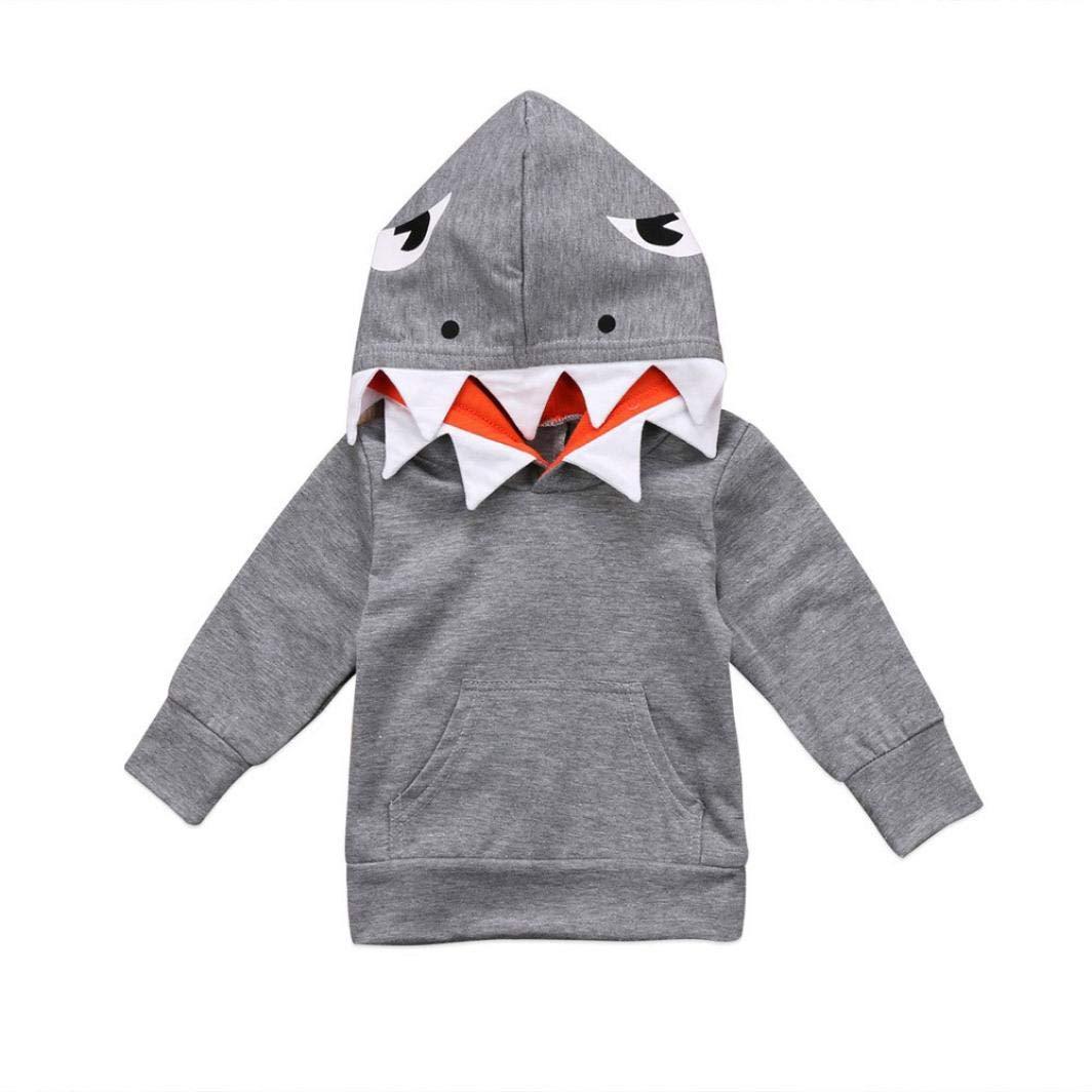 Ropa Bebe, ❤ Modaworld Sudadera bebé Niño pequeño Niños Niños Niñas Mangas Largas Tiburón de Dibujos Animados Abrigo con Capucha Tops Ropa 12 Mes - 4 ...
