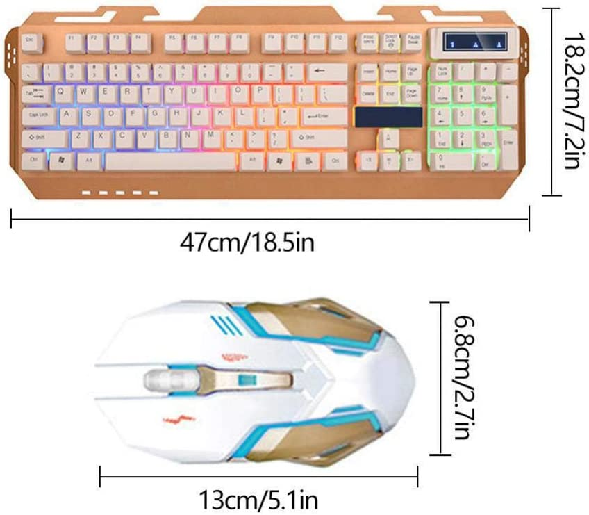 PC Gaming Mechanical Mouse Keyboard Set Waterproof Metal Cover Luminous PC Gamer USB Wired Standard Keyboard Mice Kit Laptop