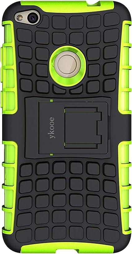 ykooe Cover Huawei P8 Lite 2017, Silicone Custodia per Huawei P8 Lite 2017 Custodie Doppio Strato Ibrido Case - Verde