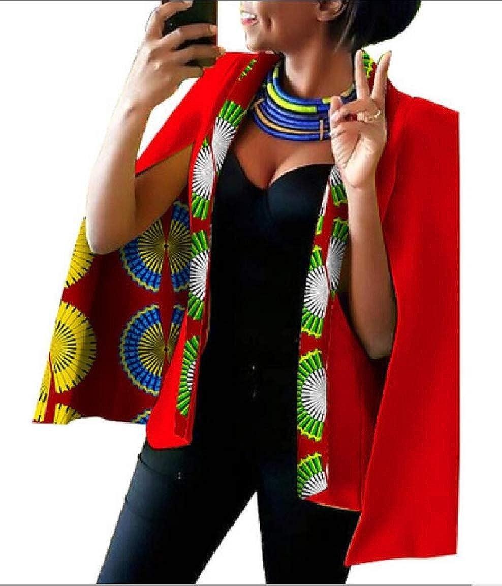 12 Keaac Womens African Dashiki Floral Print Cape Jacket Coat Blazer