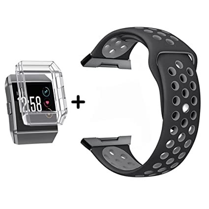 Bands for Fitbit Ionic, MeriCino Soft Silicone Sport Band Replacement Strap Fashion Perforated Breathable Accessory Adjustable Fitness Fitbit Ionic ...