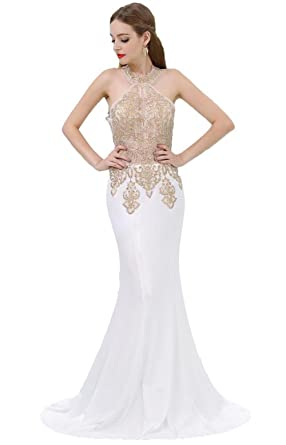 Heartgown Womens Prom Dresses Sexy Mermaid Long Lace Embroidery High Neck Evening Dress As Picture(