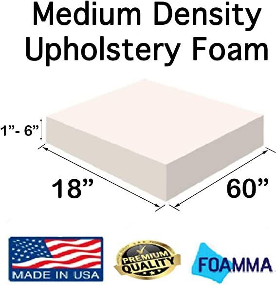 FOAMMA 1 x 16 x 16 Upholstery Foam High Density Foam Chair Cushion Square Foam for Dinning Chairs, Wheelchair Seat Cushion Replacement