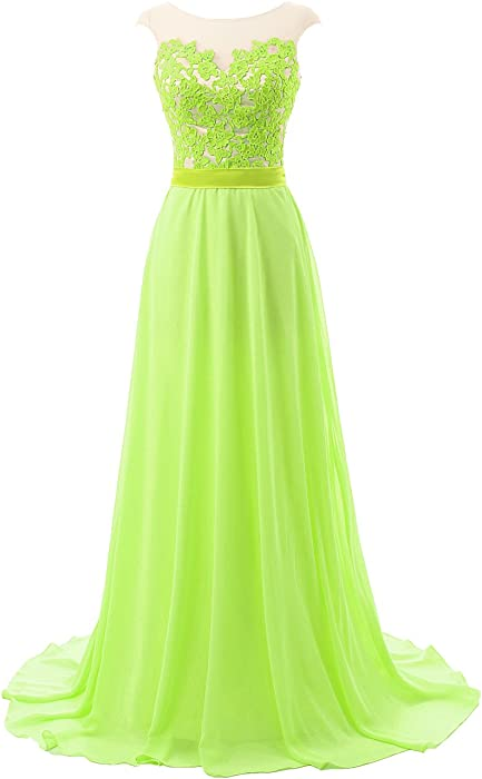 67d245bd1b7 Prom Dresses Bridesmaid Dress Long Lace Open Back Chiffon Evening Gown Cap  Sleeves  7 US2