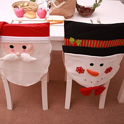 Groovy Amazon Com Grapy Set Of 2 Pcs Christmas Chair Covers Santa Caraccident5 Cool Chair Designs And Ideas Caraccident5Info