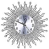 Whitelotous -Art Metal Inlaid Diamond Flower Design -Battery Clock- Non-Ticking Digital Decorative Wall Clock For Sale