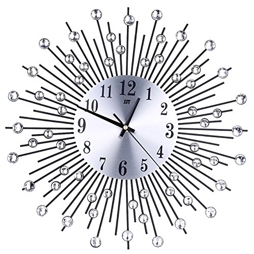 Whitelotous -Art Metal Inlaid Diamond Flower Design -Battery Clock- Non-Ticking Digital Decorative Wall Clock For Sale