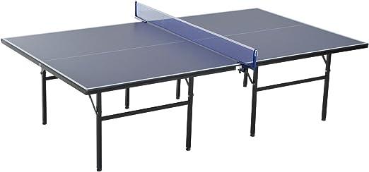 Homcom Mesa de Ping Pong Plegable con Red 152.5x274x76cm Tenis de Mesa y Material de Acero y MDF en Color Azul: Amazon.es: Jardín