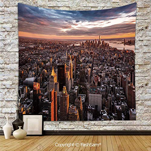 Tapestry Wall Hanging Aerial View of The Manhattan Skyline at Sunset Famous Financial District NYC Tapestries Dorm Living Room Bedroom(W59xL78) ()