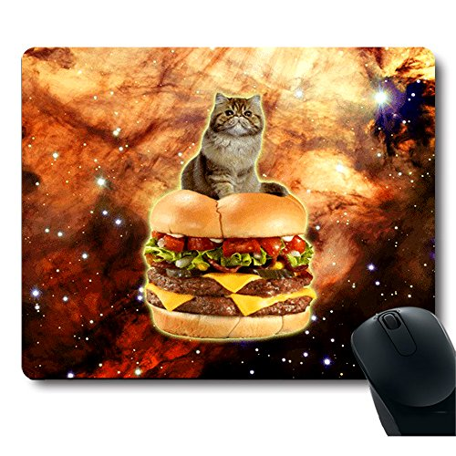 UPC 606220275541, Cute Cat Stand on a Hamburger in Galaxy Space Mouse Pad
