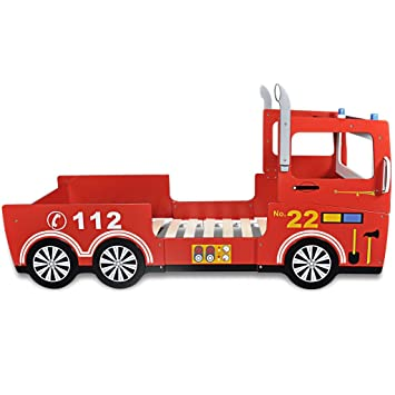 Anself Childrens Fire Engine Bed Frame 200 X 90 Cm Red